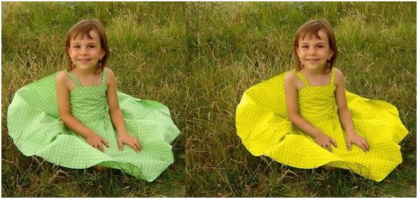 Поменять цвет платья фотошоп